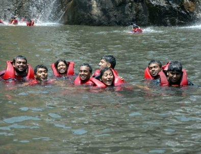swimming at dudhsagar falls